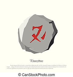 Rune stone on a white background in cartoon style