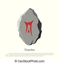 Rune stone on a white background in cartoon style.