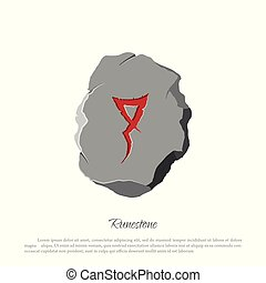 Rune stone on a white background in cartoon style. The object to