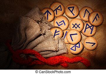 runes, con, bolsa, en ayunas
