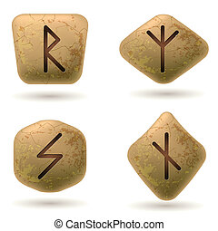 Runes Engraved on Stone. Set number five on white