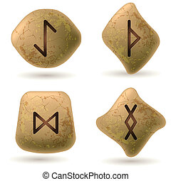 Runes Engraved on Stone. Set number two on white