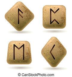 Runes Engraved on Stone. Set number six on white