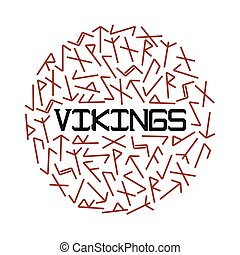 runes., luminoso, vettore, illustrazione, vikings