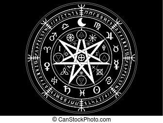 runes, mystique, ensemble, année, la terre, mandala, signes, divination., symboles, ancien, isolé, noir, astrologique, roue, wicca, symbole, fond, occulte, wiccan, protection., vecteur, sorcières, zodiaque, ou