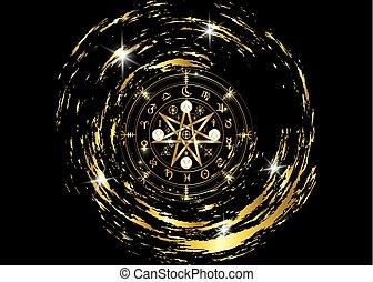 runes, or, mystique, année, la terre, mandala, signes, divination., symboles, ancien, isolé, noir, astrologique, roue, wicca, symbole, fond, occulte, wiccan, protection., vecteur, sorcières, zodiaque, ou