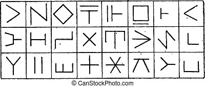 Runes, vintage engraving - Runes, on the Walls of Coucy...