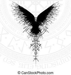 runic, ワタリガラス, 黒, シンボル, スカンジナビア人