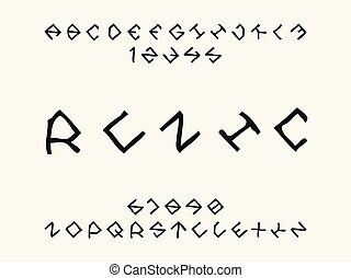 Runic font. Vector alphabet letters and numbers. Typeface...