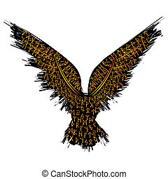 Runic raven color - Black grunge bird silhouette with runic...