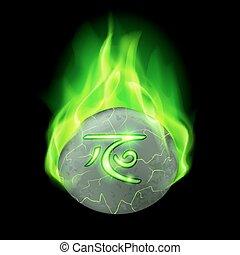Runic stone - Ancient cracked stone with magic rune burning...
