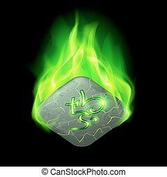 Runic stone - Ancient quadrangular stone with magic rune...