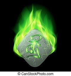 Runic stone - Ancient rhombus stone with magic rune in green...