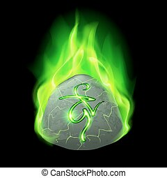 Runic stone - Ancient rough stone with magic rune in green...