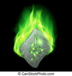 Runic stone - Cracked diamond-shaped stone with magic rune...