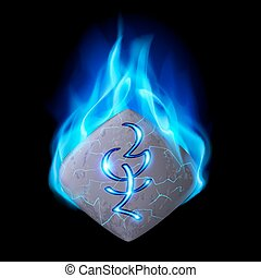 Runic stone - Cracked quadrangular stone with magic rune...