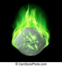 Runic stone - Cracked rough stone with magic rune burning in...