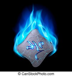 Runic stone - Mysterious bend stone with magic rune in blue...
