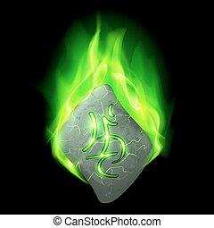 Runic stone - Mysterious bend stone with magic rune burning...