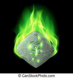 Runic stone - Mysterious quadrangular stone with magic rune...