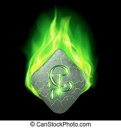Runic stone - Mysterious rhombus stone with magic rune in...