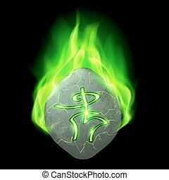 Runic stone - Mysterious rough stone with magic rune burning...