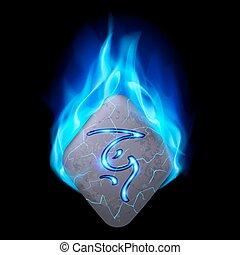 Runic stone - Mythic diamond-shaped stone with magic rune in...