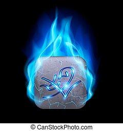 Runic stone - Mythic rectangular stone with magic rune...