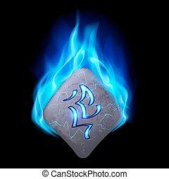Runic stone - Secret bend stone with magic rune burning in...