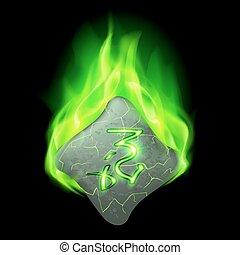 Runic stone - Secret bend stone with magic rune in green...