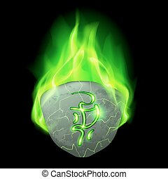Runic stone - Secret rough stone with magic rune burning in...