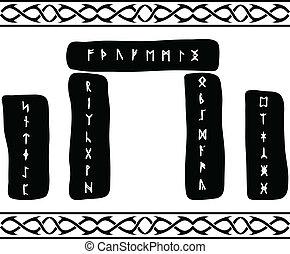 runic stones. vector illustration