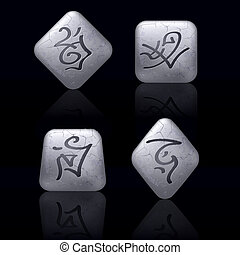 Runic Stones with Magical Spells. Set number Seven on black
