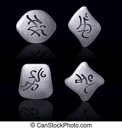 Runic Stones with Magical Spells. Set number Three on black