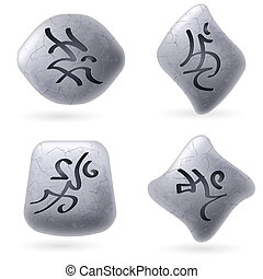 Runic Stones with Magical Spells. Set number Three on white