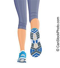 Runing female legs - Running female woman legs in shoes...