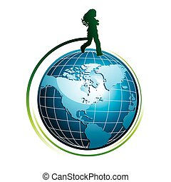 Runing girl silhouette on globe icon