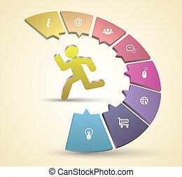 runing, vetorial, conceito, modelo