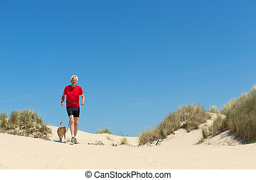 Runing with dog in nature