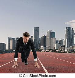runner., のように, ビジネス, 挑戦, 行為, 競争, 概念, ビジネスマン