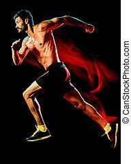 runner., ジョガー, トップレスで, 筋肉, 隔離された, 動くこと, ジョッギング, 黒い背景, 人
