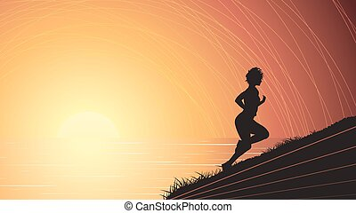 Runner above the sunset sea.