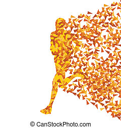 Runner abstract vector background, man made of fragments