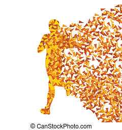 Runner abstract vector background, woman made of fragments