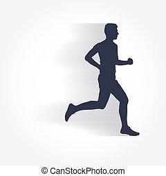 Runner and marathon line silhouette symbol