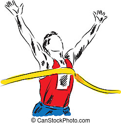 runner at the finish line winner illustration