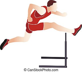 runner athlete running hurdles colored silhouette vector...