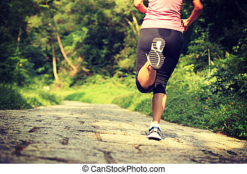 Runner athlete running on trail - Runner athlete running on...