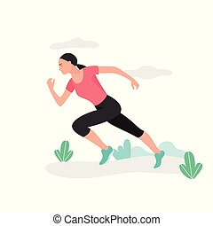 runner., atleta, młody, biegacz, kobieta, jogging., running., maraton