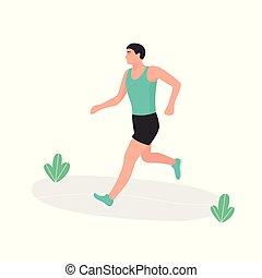 runner., atleta, młody, biegacz, running., jogging., maraton, człowiek